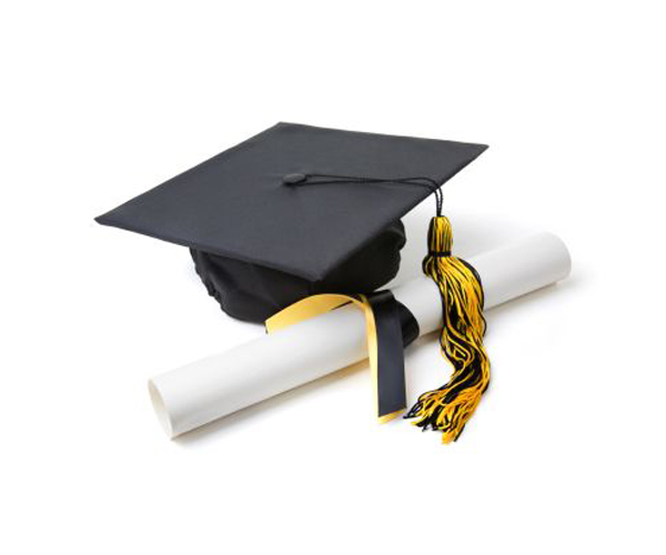 Graduation Cap and Diploma on White with Soft Shadow.